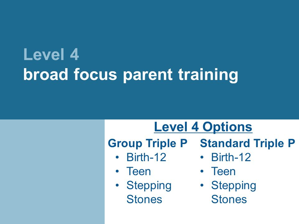 Level 4 broad focus parent training