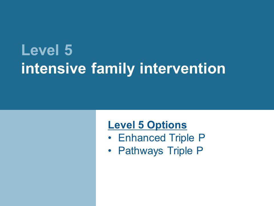 Level 5 intensive family intervention