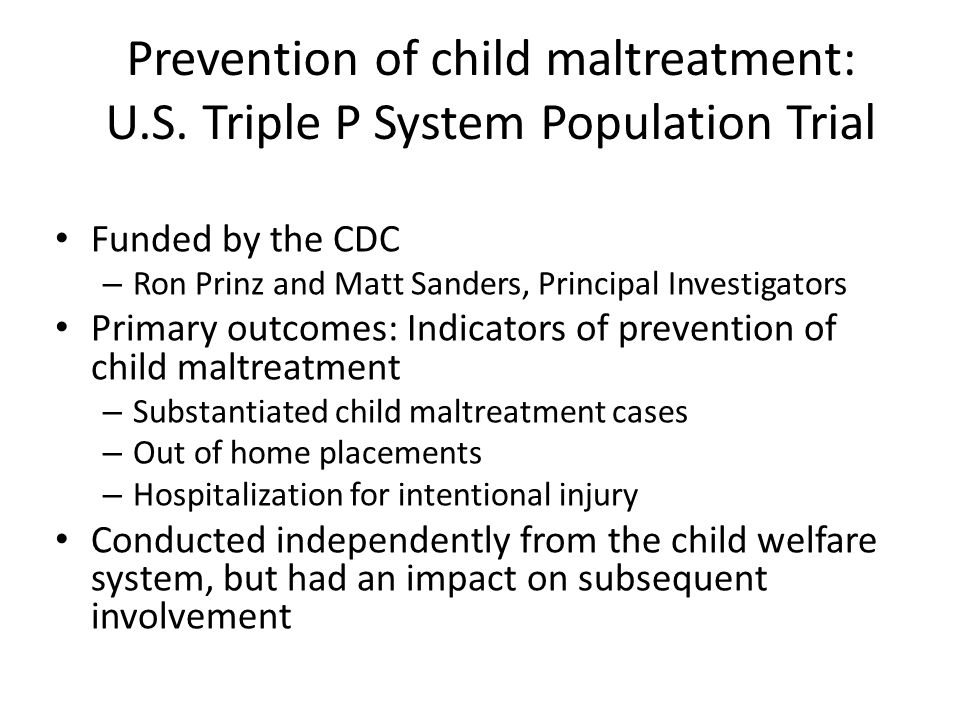 Prevention of child maltreatment: U. S