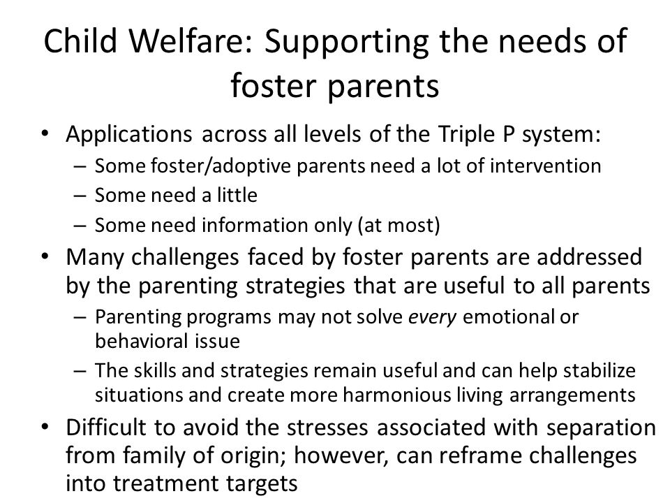 Child Welfare: Supporting the needs of foster parents