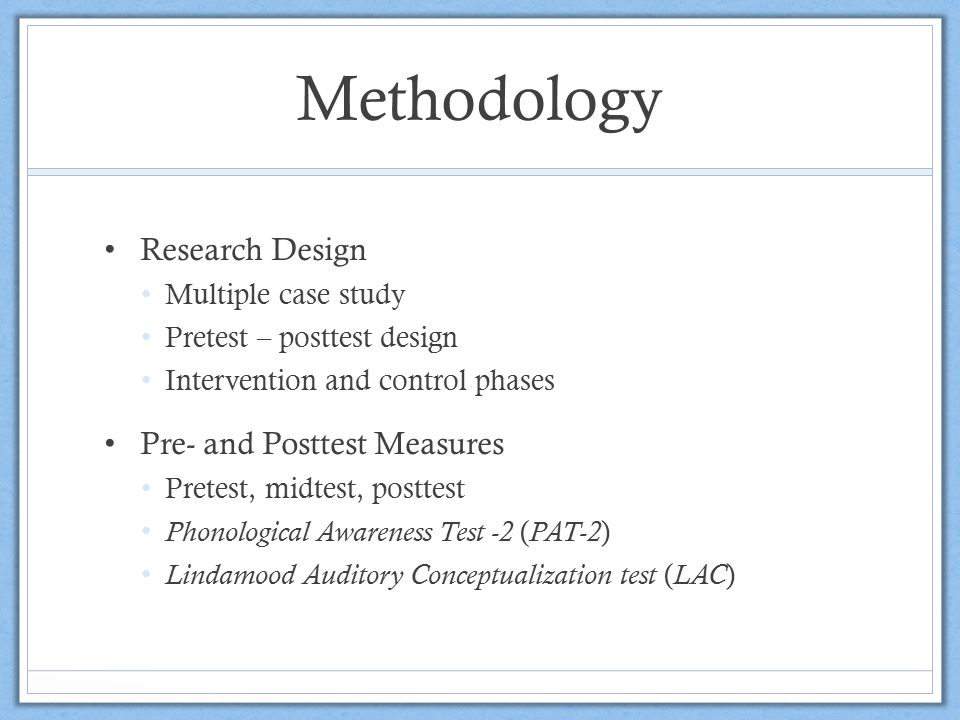 Methodology Research Design Pre- and Posttest Measures