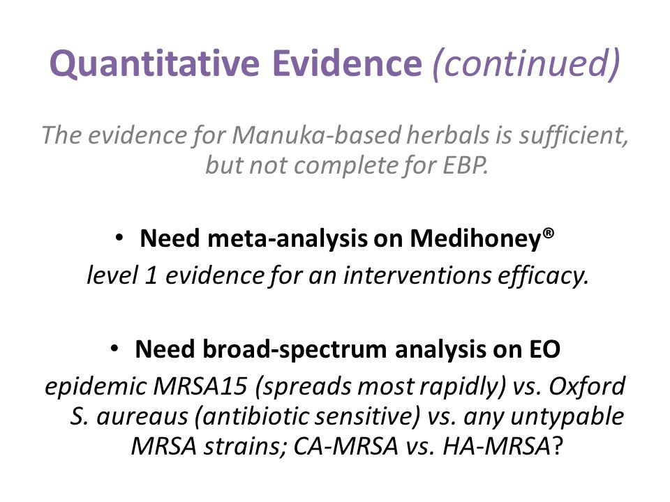Quantitative Evidence (continued)