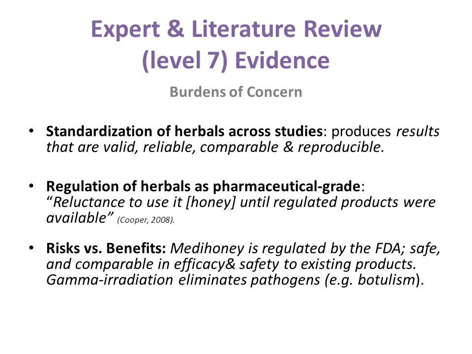 Expert & Literature Review (level 7) Evidence