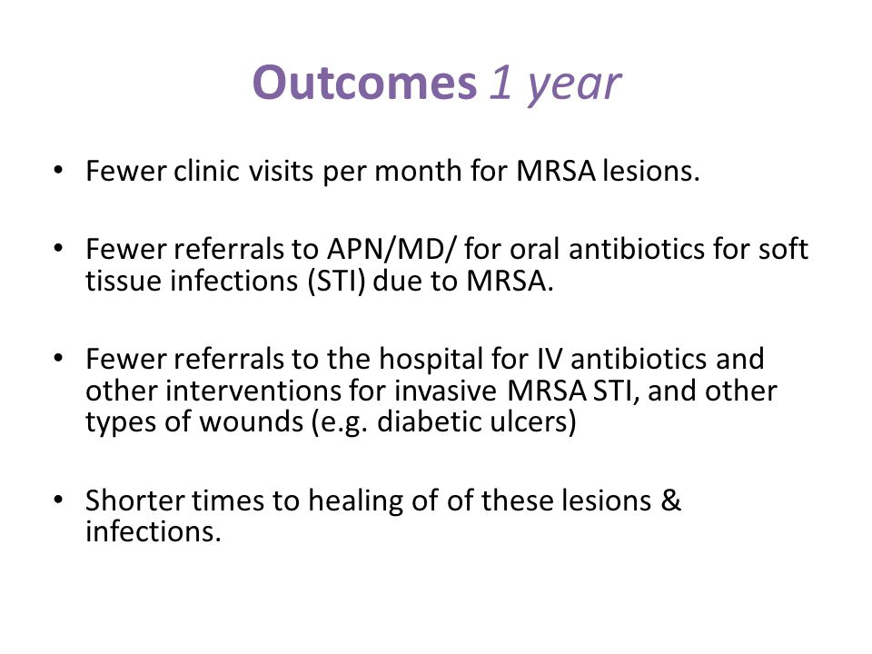 Outcomes 1 year Fewer clinic visits per month for MRSA lesions.