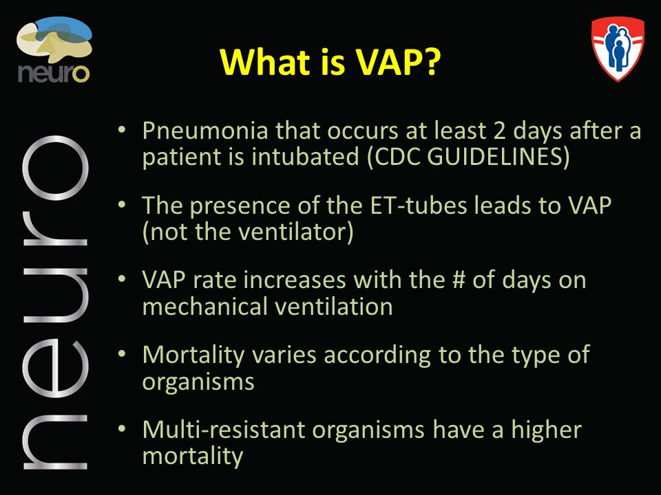 What is VAP Pneumonia that occurs at least 2 days after a patient is intubated (CDC GUIDELINES)