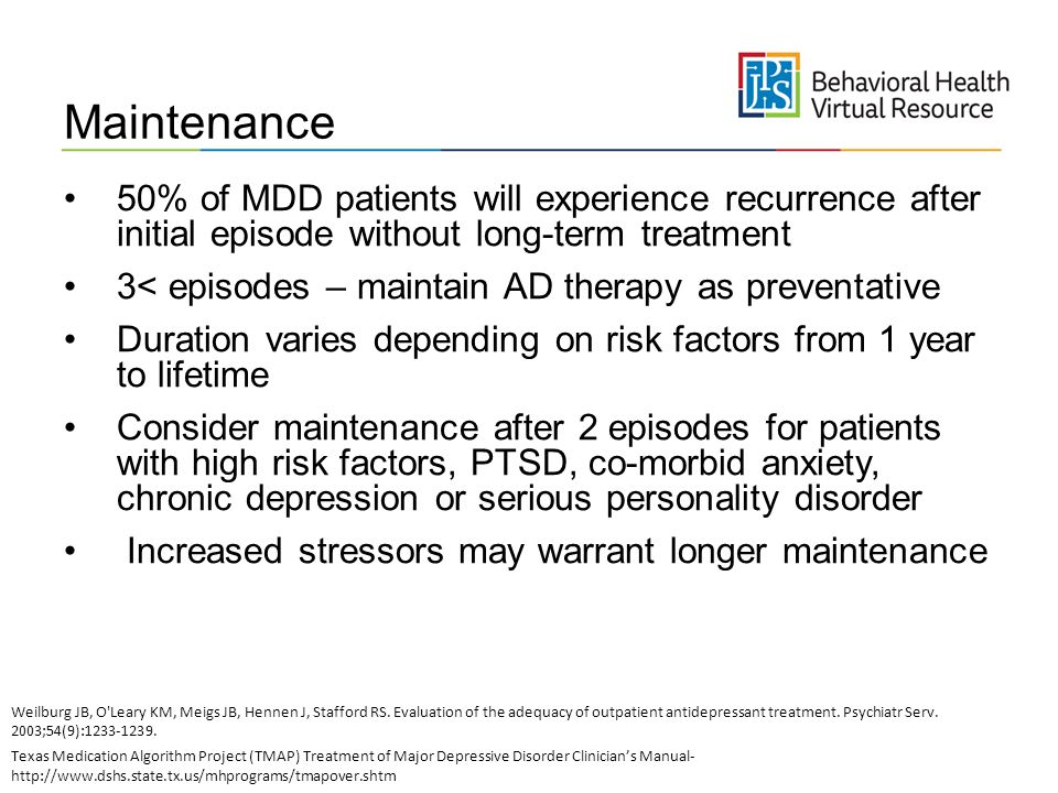 Maintenance 50% of MDD patients will experience recurrence after initial episode without long-term treatment.