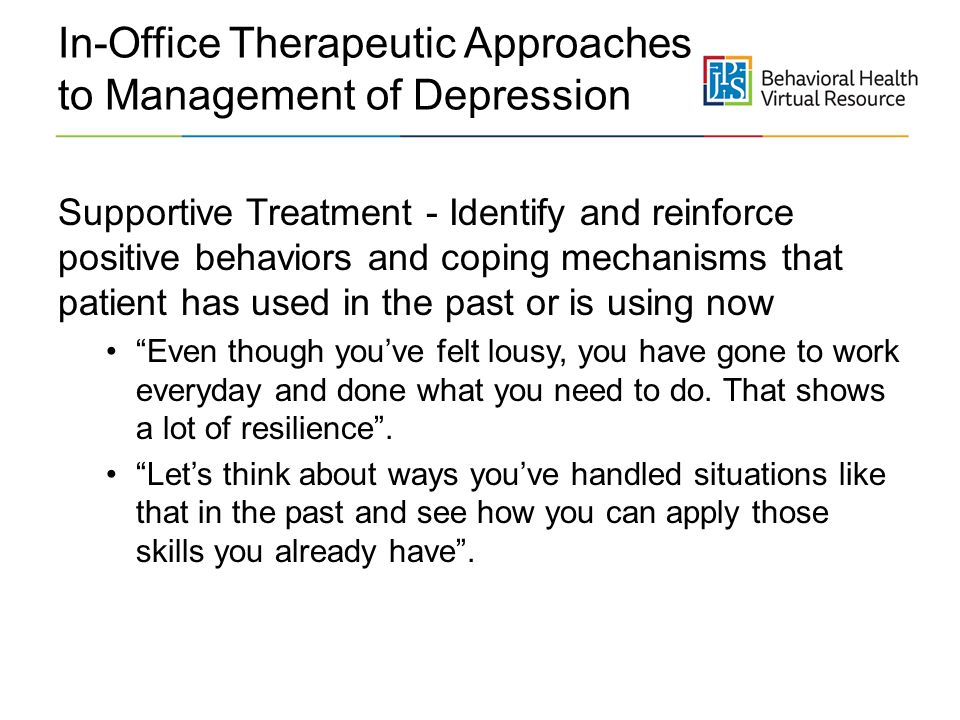 In-Office Therapeutic Approaches to Management of Depression