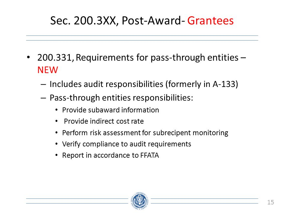 Sec XX, Post-Award- Grantees