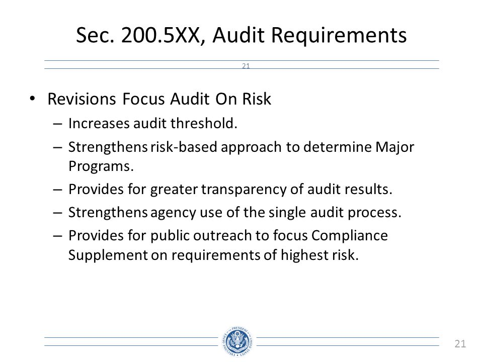 Sec XX, Audit Requirements