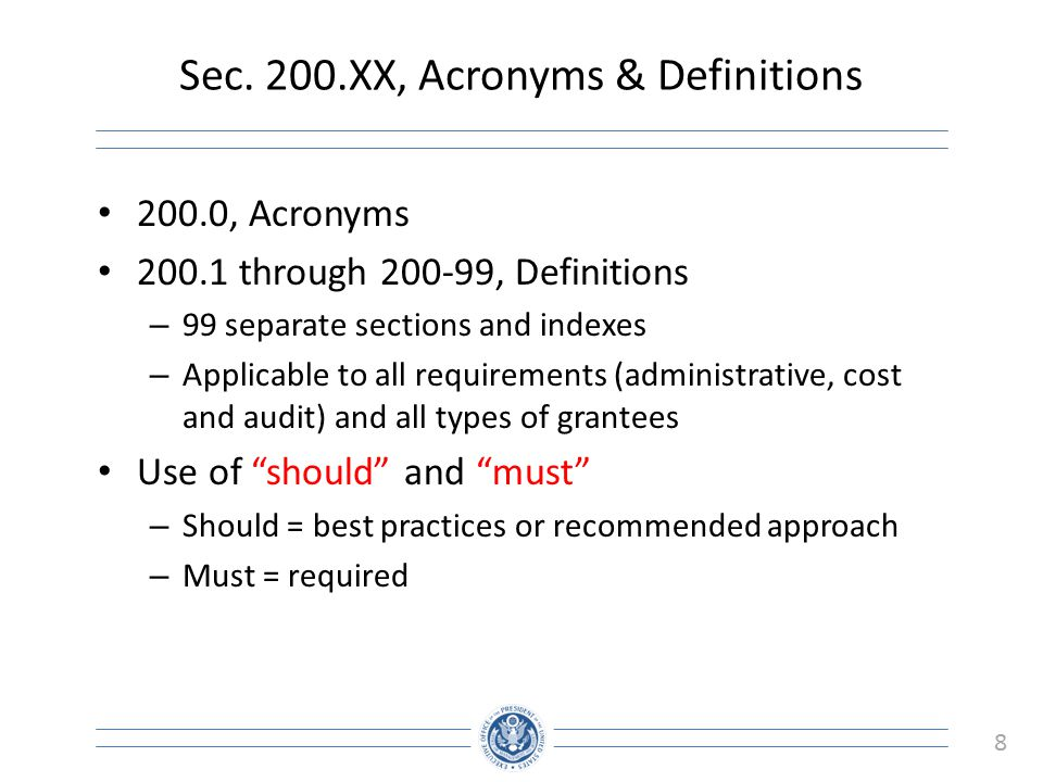 Sec. 200.XX, Acronyms & Definitions