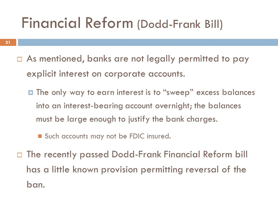 Financial Reform (Dodd-Frank Bill)