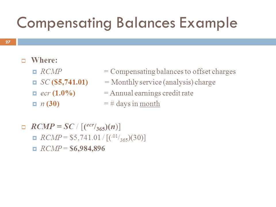 Compensating Balances Example