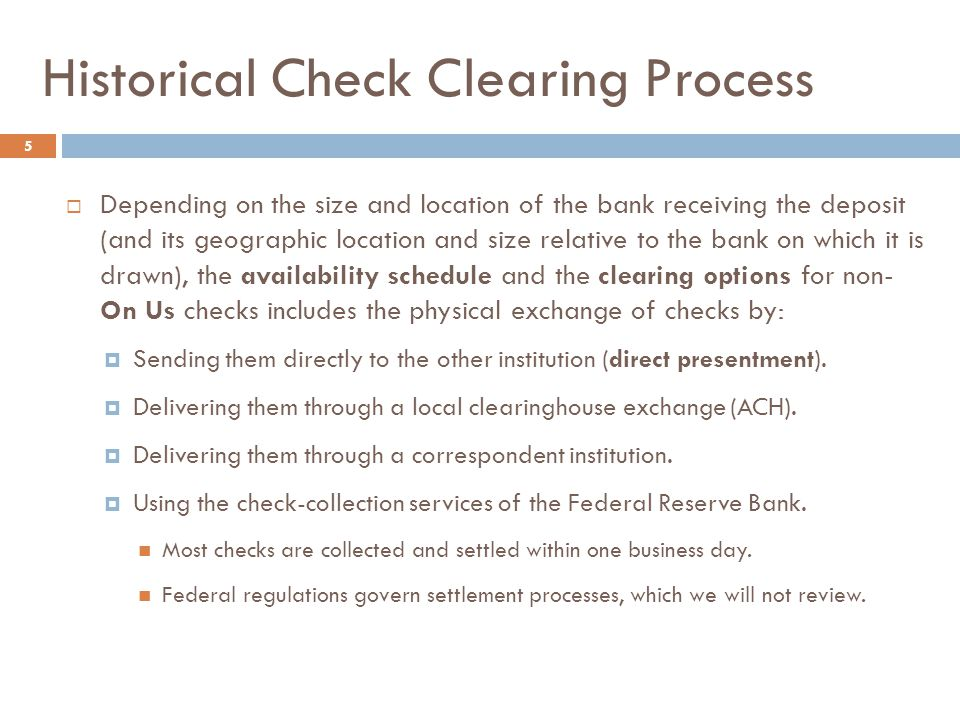 Historical Check Clearing Process