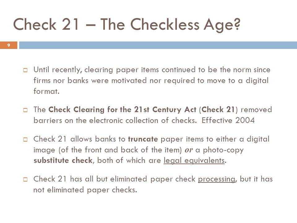 Check 21 – The Checkless Age