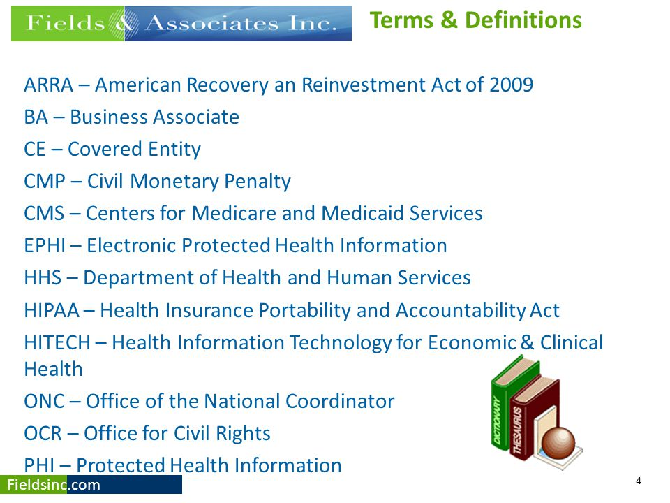 Terms & Definitions ARRA – American Recovery an Reinvestment Act of BA – Business Associate.