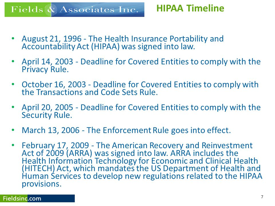 HIPAA Timeline August 21, 1996 - The Health Insurance Portability and Accountability Act (HIPAA) was signed into law.