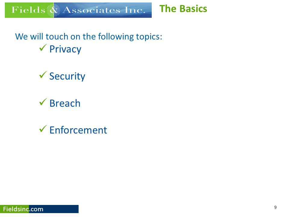 The Basics Privacy Security Breach Enforcement