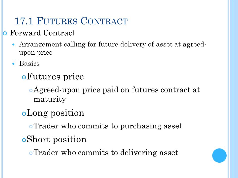 17.1 Futures Contract Futures price Long position Short position