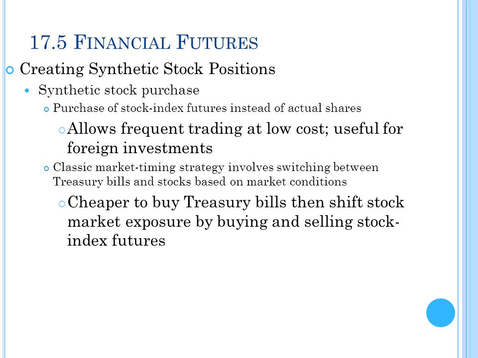17.5 Financial Futures Creating Synthetic Stock Positions