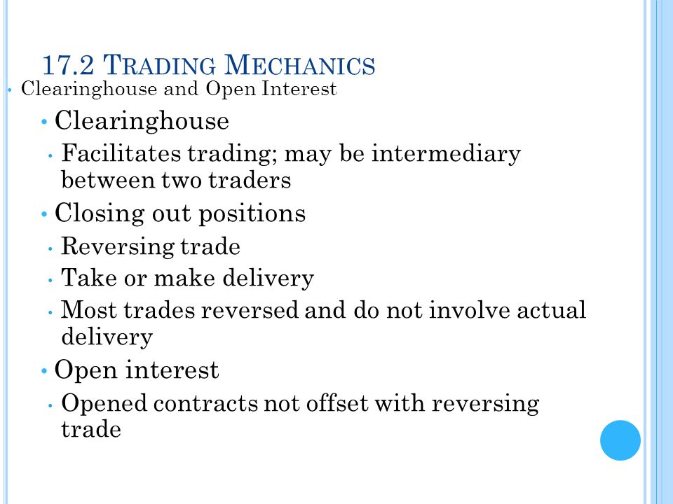 17.2 Trading Mechanics Clearinghouse Closing out positions