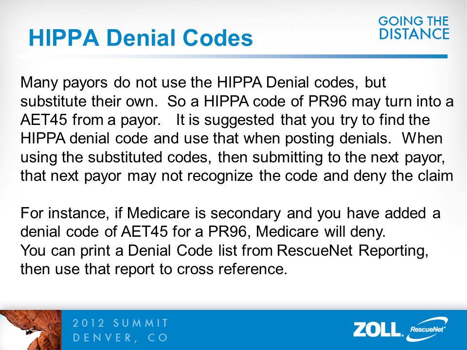 HIPPA Denial Codes