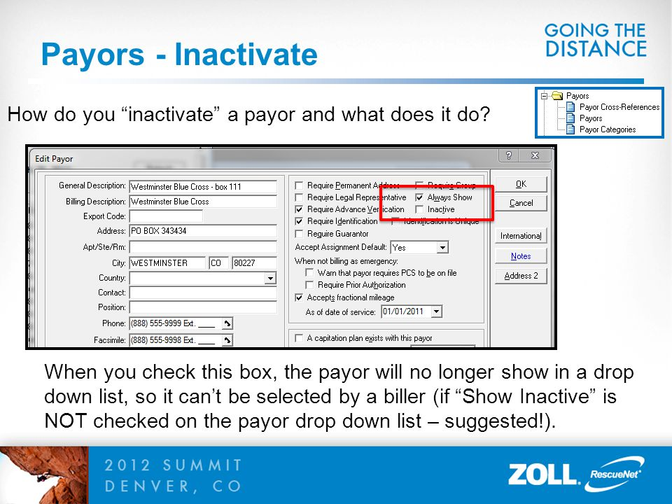 Payors - Inactivate How do you inactivate a payor and what does it do
