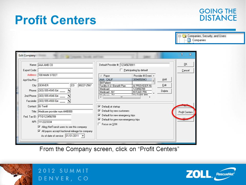 Profit Centers From the Company screen, click on Profit Centers