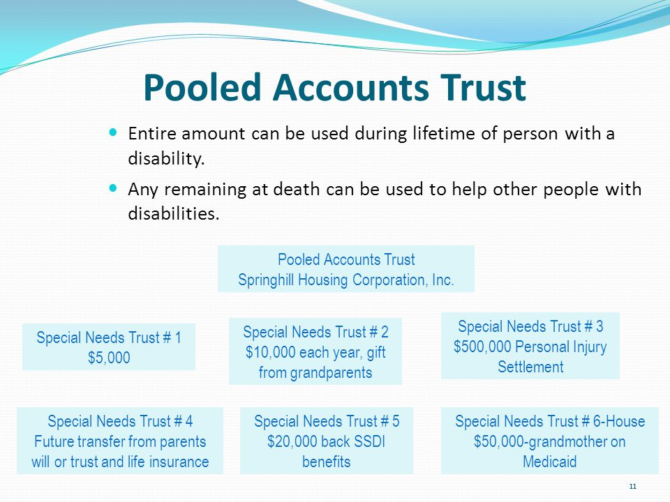 Pooled Accounts Trust Entire amount can be used during lifetime of person with a disability.