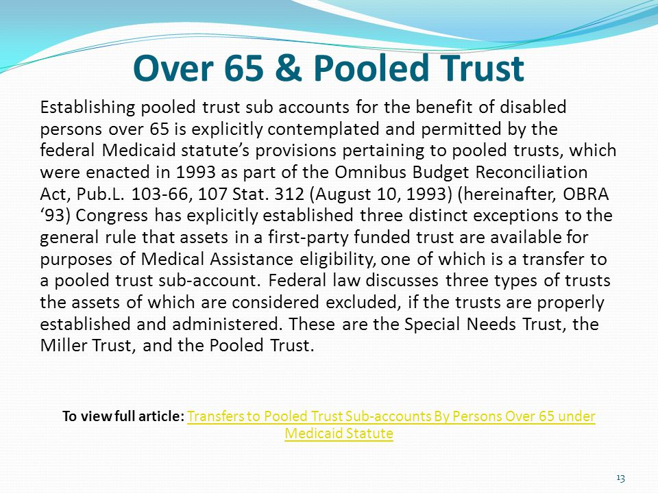 Over 65 & Pooled Trust