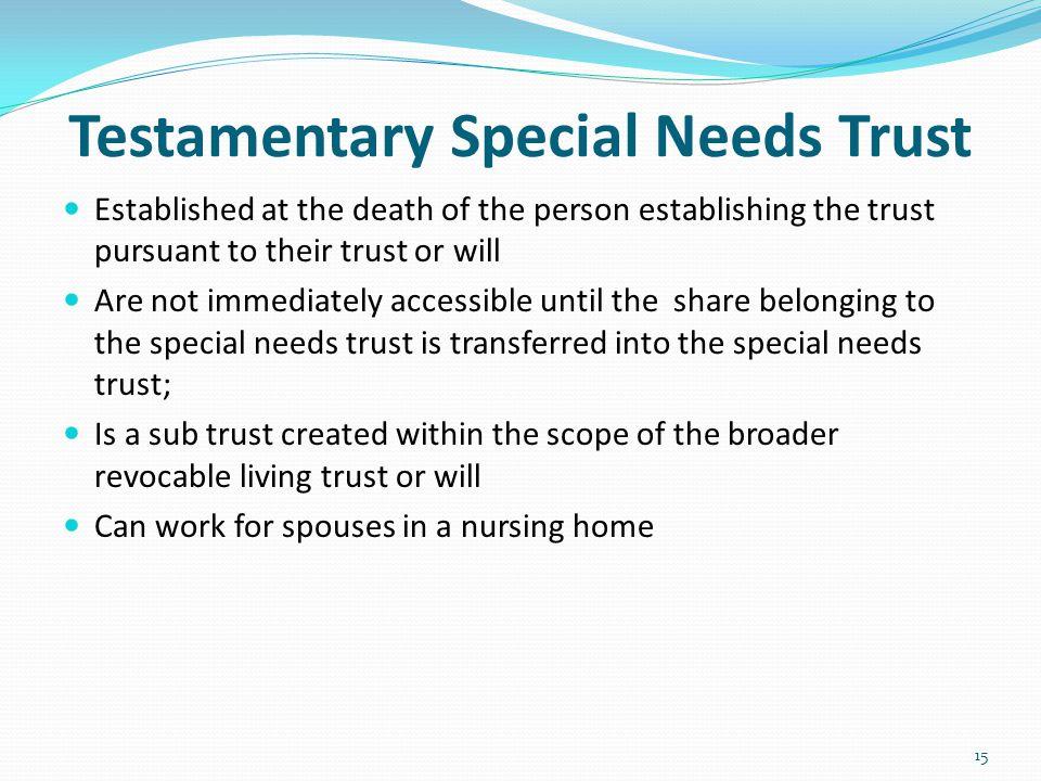 Testamentary Special Needs Trust