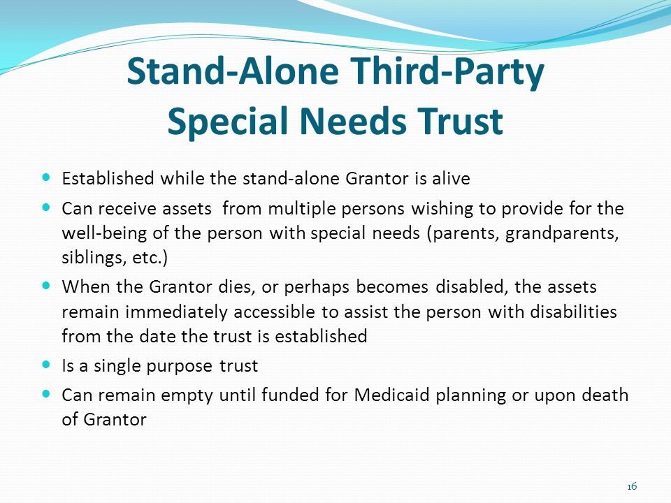 Stand-Alone Third-Party Special Needs Trust