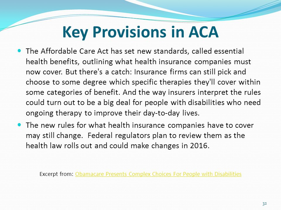 Key Provisions in ACA