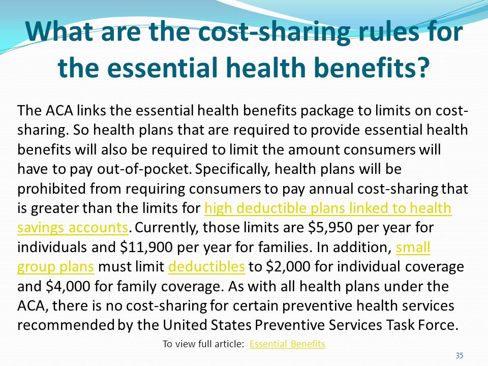 What are the cost-sharing rules for the essential health benefits