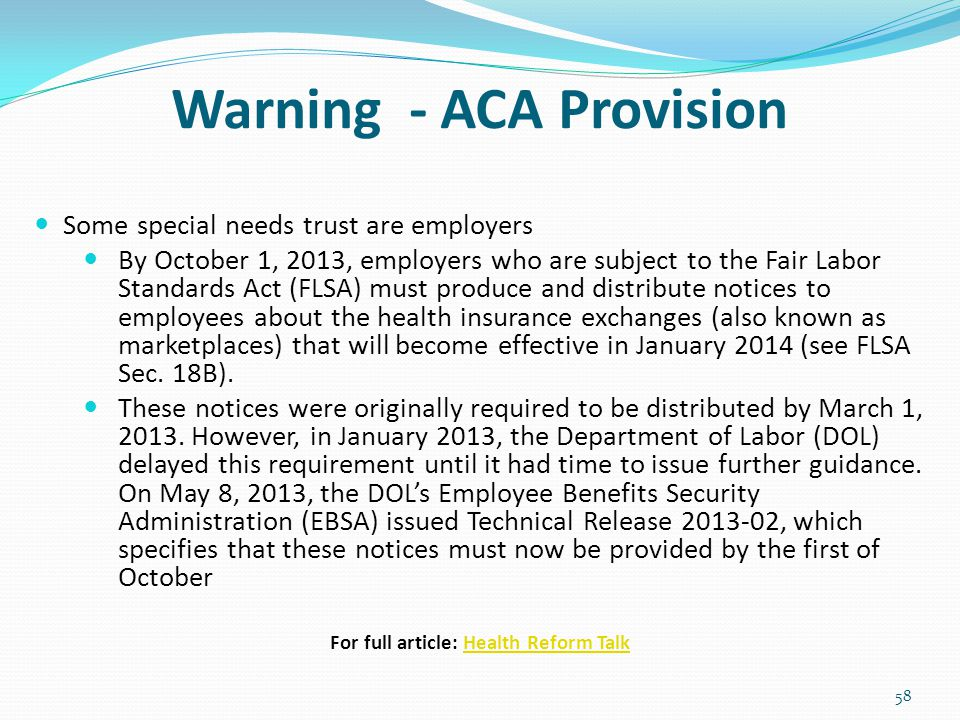 Warning - ACA Provision