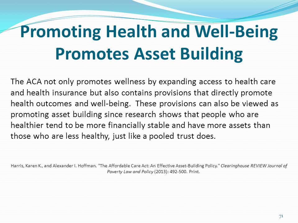 Promoting Health and Well-Being Promotes Asset Building