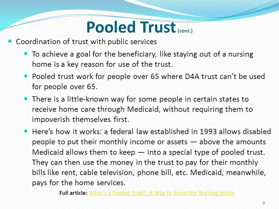 Full article: What's a Pooled Trust A Way to Avoid the Nursing Home