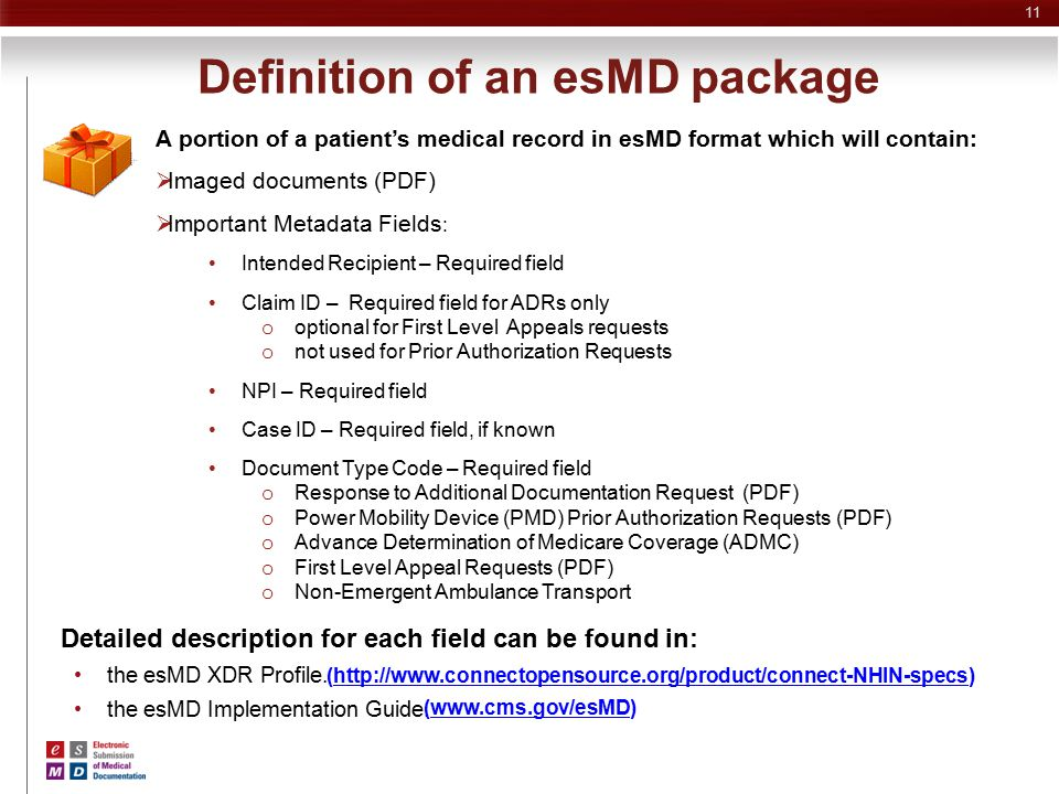Definition of an esMD package
