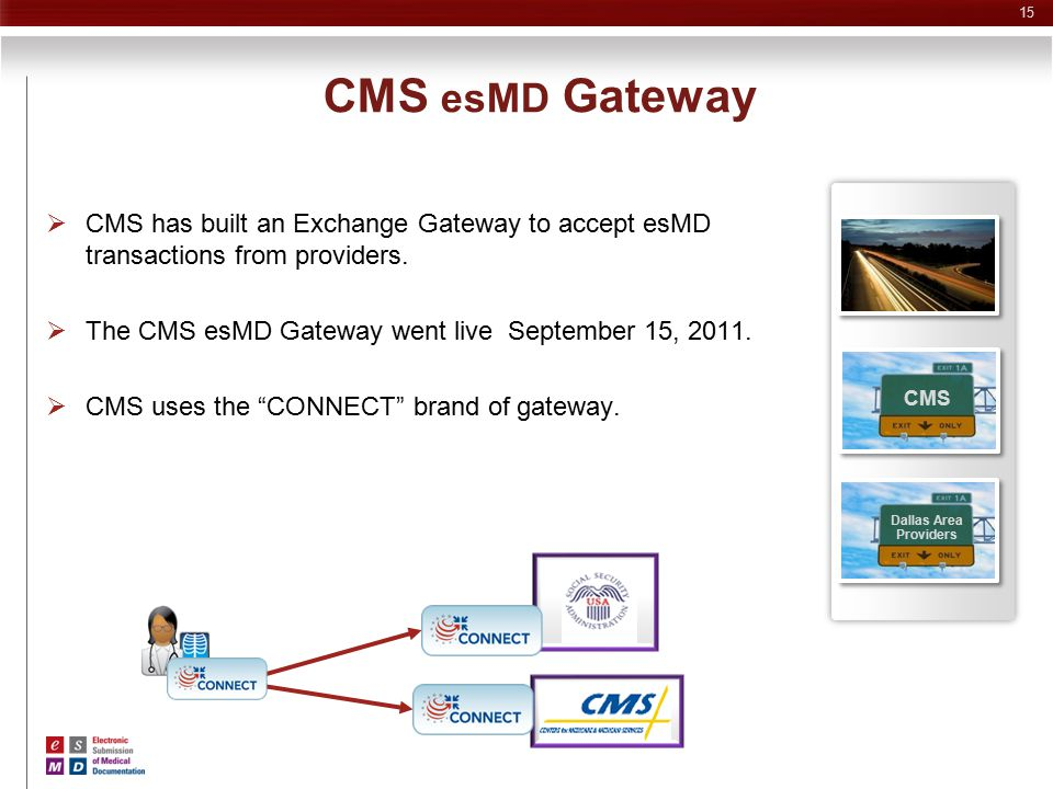 CMS esMD Gateway CMS. Dallas Area. Providers. CMS has built an Exchange Gateway to accept esMD transactions from providers.