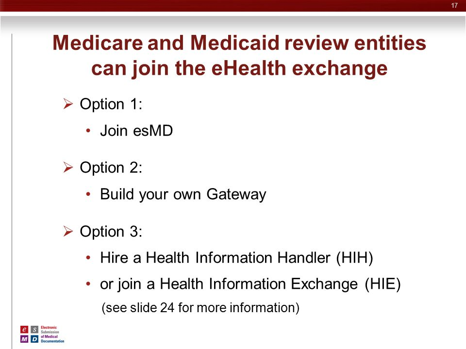 Medicare and Medicaid review entities can join the eHealth exchange