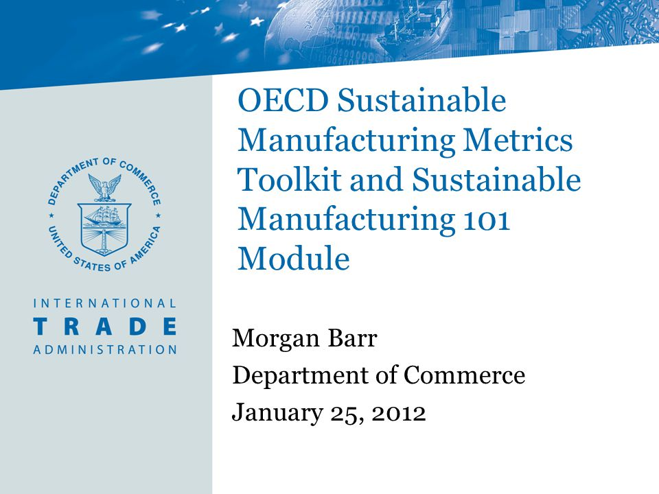 Morgan Barr Department of Commerce January 25, 2012