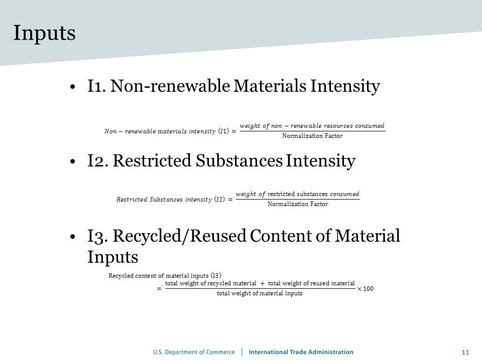 Inputs I1. Non-renewable Materials Intensity