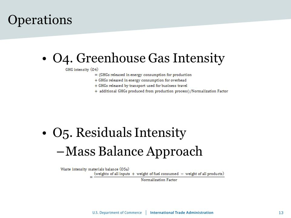 Operations O4. Greenhouse Gas Intensity O5. Residuals Intensity Mass Balance Approach