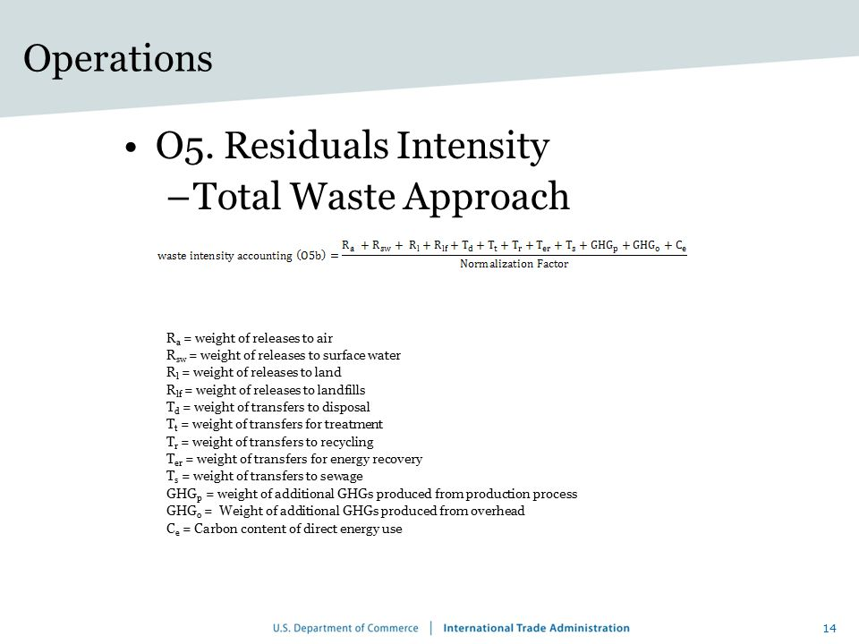 Operations O5. Residuals Intensity Total Waste Approach