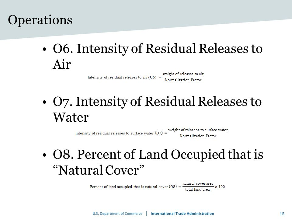 Operations O6. Intensity of Residual Releases to Air. O7. Intensity of Residual Releases to Water.