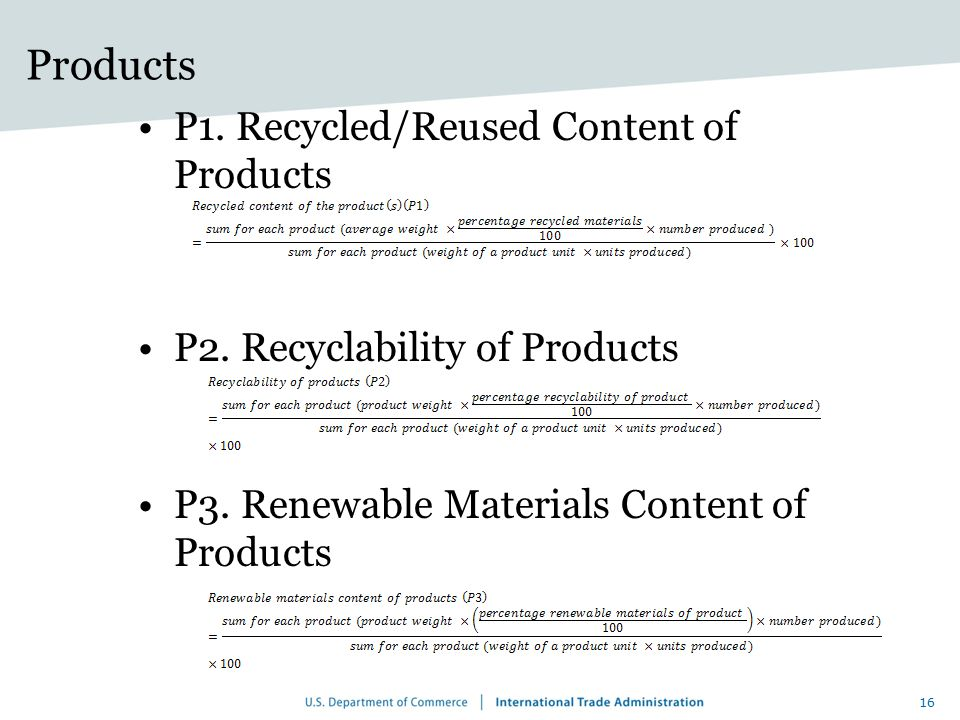 Products P1. Recycled/Reused Content of Products