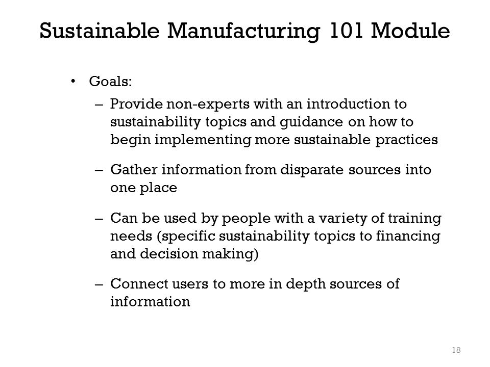 Sustainable Manufacturing 101 Module