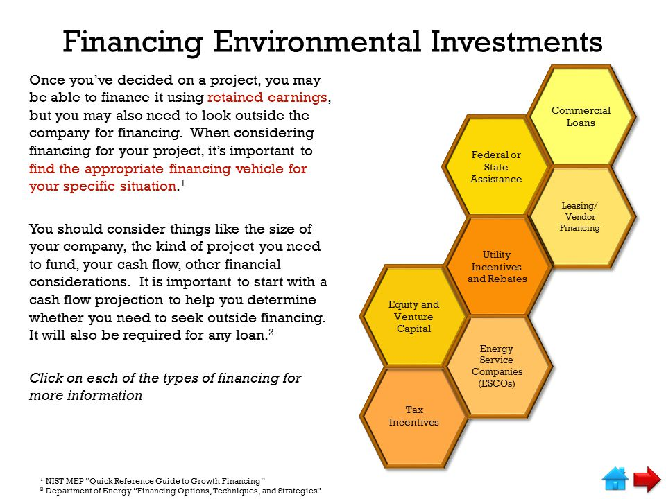 Financing Environmental Investments