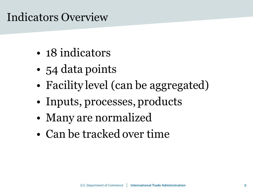 Indicators Overview 18 indicators. 54 data points. Facility level (can be aggregated) Inputs, processes, products.