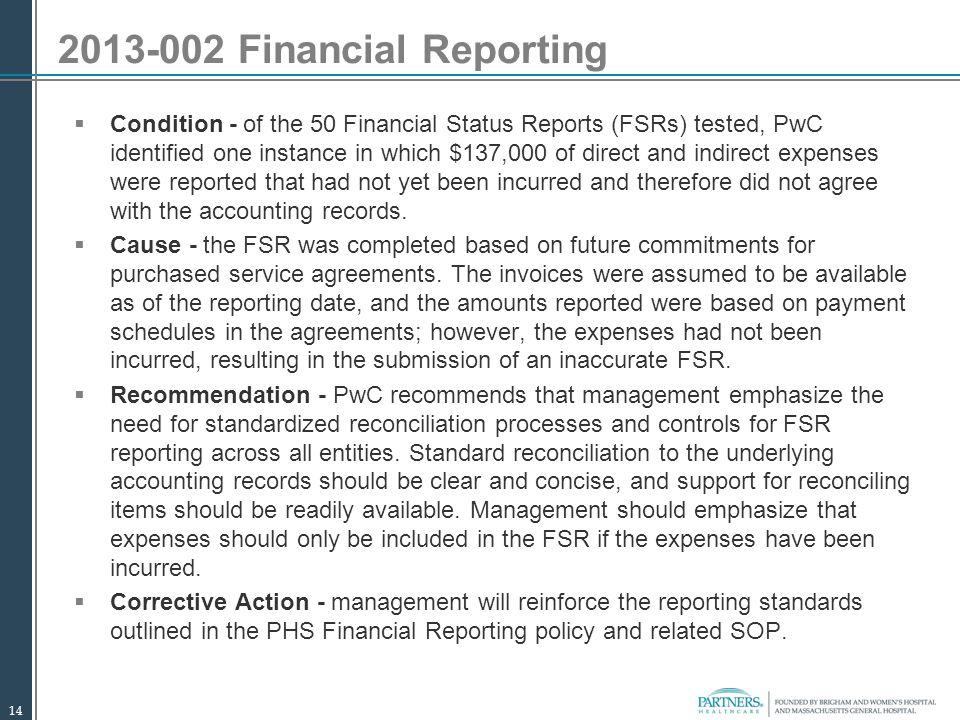 2013-002 Financial Reporting