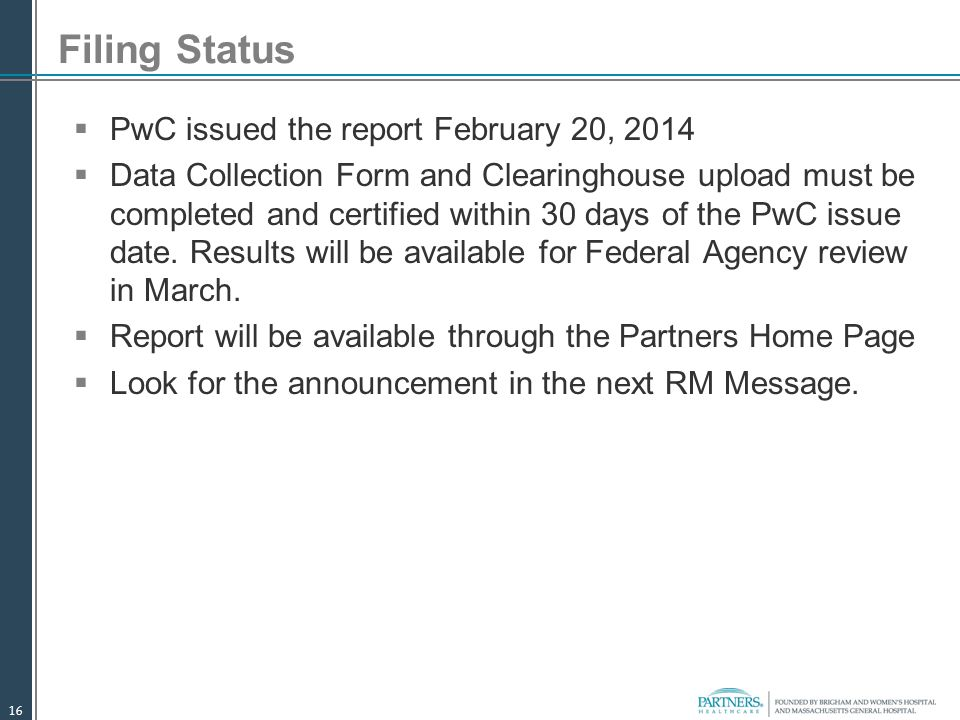 Filing Status PwC issued the report February 20, 2014